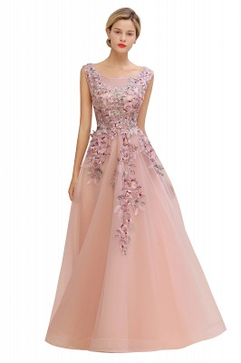 Sleeveless Crew Neck Tulle Floral Appliques Evening Party Dress Floor Length Aline Party Dress_8