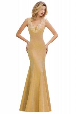 Sparkly Deep V-neck Long Evening Dresses | Elegant Flowers Neck Sleeveless Pink Floor-length Formal Dress_3