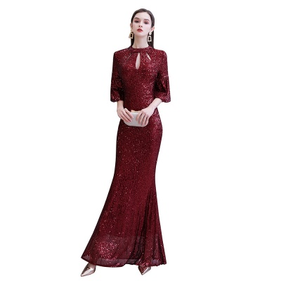 Glittering Half Sleeves Keyhole Mermaid Long Burgundy Prom Dress_13