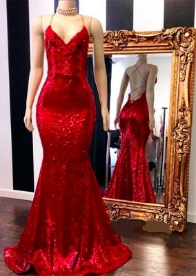 Spaghetti Straps Lace-up Red Sequins V-neck Mermaid Prom Dresses_1
