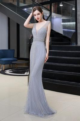Sexy Mermaid V-neck Silver Mermaid Prom Dress_4