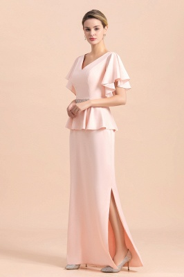 Cap sleeves V-neck Pink Two pieces Long mother of the bride dress_8