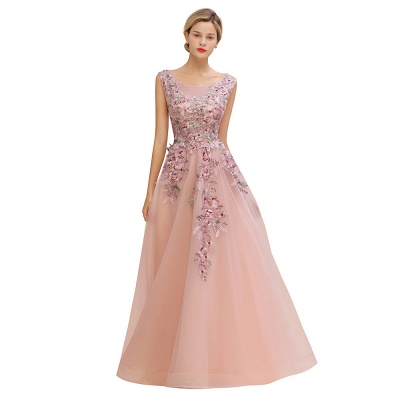 Sleeveless Crew Neck Tulle Floral Appliques Evening Party Dress Floor Length Aline Party Dress_11