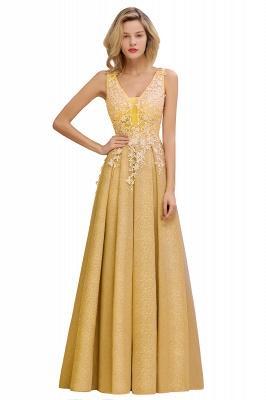 Rebacca | A-Line V-neck Floor-Length Tulle Sequined Prom Dresses_3