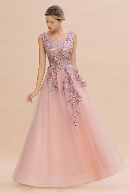 Sleeveless Crew Neck Tulle Floral Appliques Evening Party Dress Floor Length Aline Party Dress_4