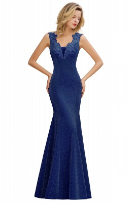 Sparkly Deep V-neck Long Evening Dresses | Elegant Flowers Neck Sleeveless Pink Floor-length Formal Dress_4