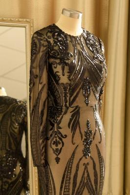 Vestido de fiesta de lujo con cuello redondo y lentejuelas negras_8