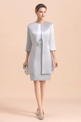 Silver two-pieces round neck Short Fall Mother Of the Bride Dress