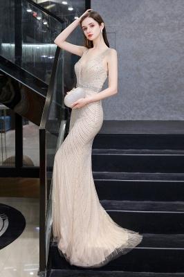 Sexy Mermaid V-neck Silver Mermaid Prom Dress_16