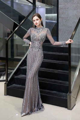 Luxury Sparkle Cap sleeves High neck Beads Long Prom Dresses_4