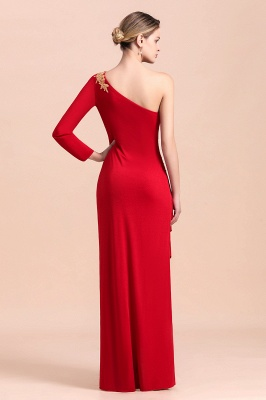 One shoulder long sleeves red pleats Plus size Mother of the bride dress_3