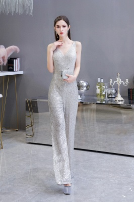 Sexy Shining V-neck Silver Sequin Sleeveless Prom Jumpsuit_6