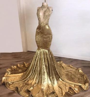 Shinning Champagne Gold Deep V-neck Court Train Mermaid Prom Dresses_2