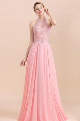 Robes de demoiselle d'honneur licou A-ligne de perles de poires roses modestes_3