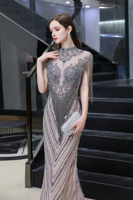 Cap sleeves High neck Sparkle Beads Long Prom Dresses Online_3