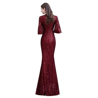 Glittering Half Sleeves Keyhole Mermaid Long Burgundy Prom Dress_12