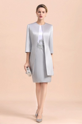 Silver two-pieces round neck Short Fall Mother Of the Bride Dress_1