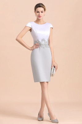 Silver two-pieces round neck Short Fall Mother Of the Bride Dress_11