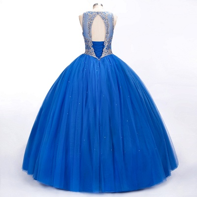 Royal Blue Illusion neck Ball Gown Fully Beaded Bodice Prom Dress_6