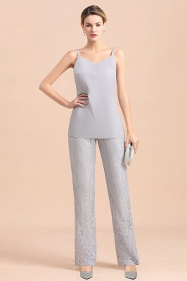 Trendy Long sleeves Silver Lace Wraps V-Neck Mother of Bride Jumpsuit_8