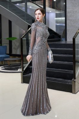 Luxury Sparkle Cap sleeves High neck Beads Long Prom Dresses_3