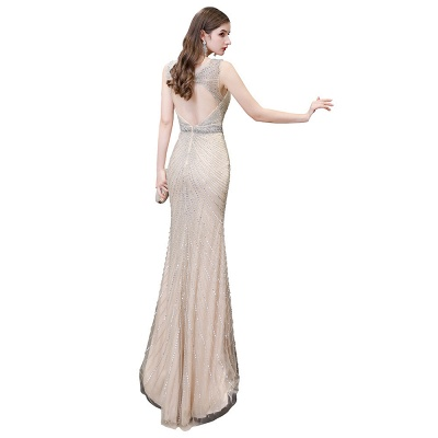 Sexy Mermaid V-neck Silver Mermaid Prom Dress_32