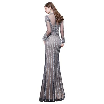 Luxury Sparkle Cap sleeves High neck Beads Long Prom Dresses_16
