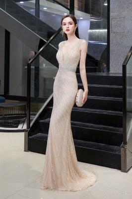 Sexy Mermaid V-neck Silver Mermaid Prom Dress_15