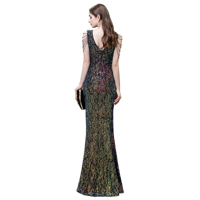 Sparkle V-neck High split Sleeveless Black Evening Dress Online_4