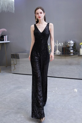 Sexy Shining V-neck Silver Sequin Sleeveless Prom Jumpsuit_12