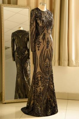 Vestido de fiesta de lujo con cuello redondo y lentejuelas negras_6