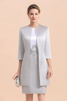 Silver two-pieces round neck Short Fall Mother Of the Bride Dress_8