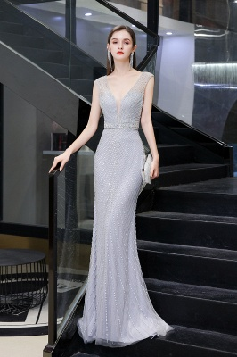 Sexy Meerjungfrau V-Ausschnitt Silber Meerjungfrau Ballkleid_7