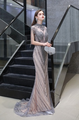 Cap sleeves High neck Sparkle Beads Long Prom Dresses Online_4