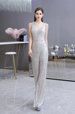 Sexy Shining V-neck Silver Sequin Sleeveless Prom Jumpsuit_5