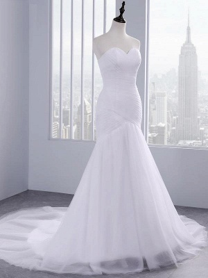 Strapless Sweetheart Mermaid Wedding Dresses | Lace Ruffles Tulle Bridal Gowns_1