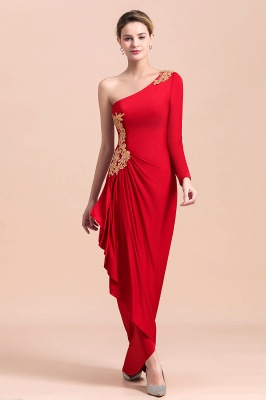 One shoulder long sleeves red pleats Plus size Mother of the bride dress_9
