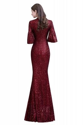 Glittering Half Sleeves Keyhole Mermaid Long Burgundy Prom Dress_14