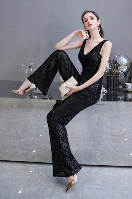 Sexy Shining V-neck Silver Sequin Sleeveless Prom Jumpsuit_16