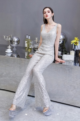 Sexy Shining V-neck Silver Sequin Sleeveless Prom Jumpsuit_11