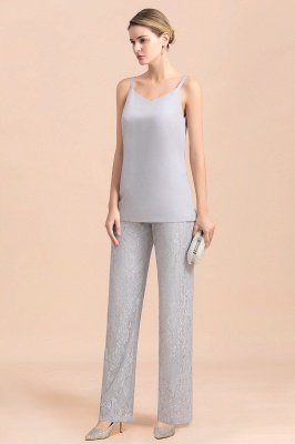 Trendy Long sleeves Silver Lace Wraps V-Neck Mother of Bride Jumpsuit_9