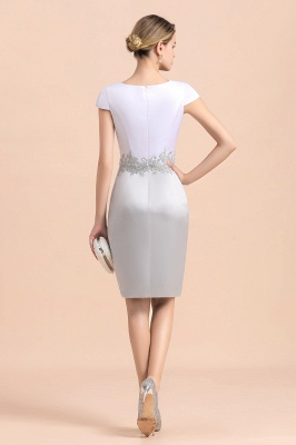 Silver two-pieces round neck Short Fall Mother Of the Bride Dress_10