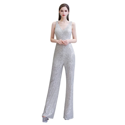 Sexy Shining V-neck Silver Sequin Sleeveless Prom Jumpsuit_2