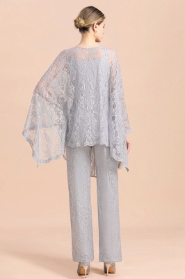 Trendy Long sleeves Silver Lace Wraps V-Neck Mother of Bride Jumpsuit_3