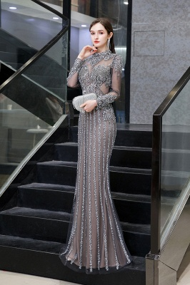 Luxury Sparkle Cap sleeves High neck Beads Long Prom Dresses_6