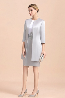 Silver two-pieces round neck Short Fall Mother Of the Bride Dress_5
