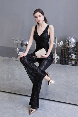 Sexy Shining V-neck Silver Sequin Sleeveless Prom Jumpsuit_17