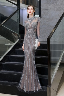 Luxury Sparkle Cap sleeves High neck Beads Long Prom Dresses_2
