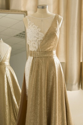 Sparkle Gold One shoulder Lace Sequined Prom Dress with Belt_5