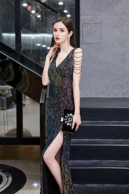 Sparkle V-neck High split Sleeveless Black Evening Dress Online_9